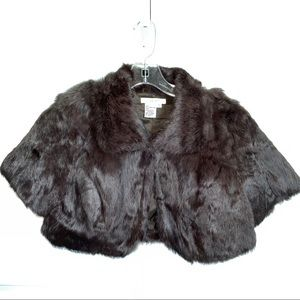 Co & Eddy Brown Rabbit Fur Cropped Jacket Small